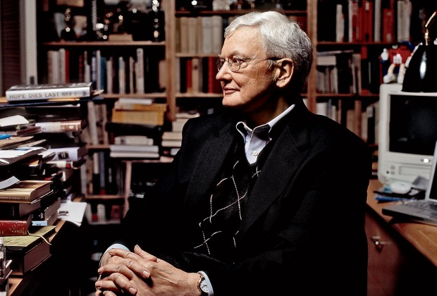Roger Ebert in his home office, 2005. Photo by Anna Knott.