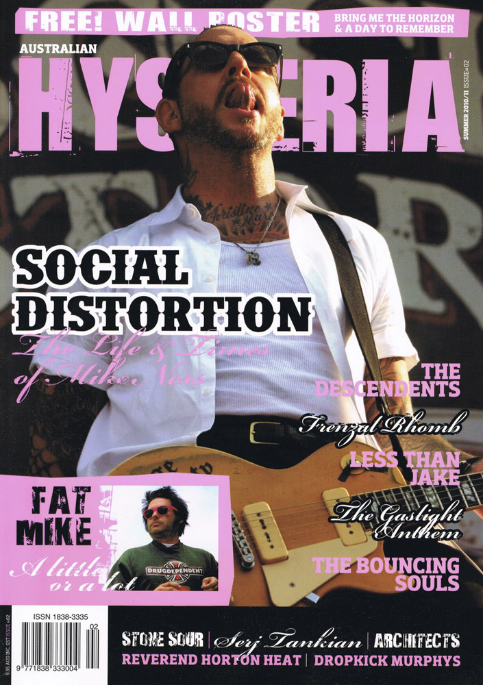 Cover photo of Social Distortion in Australian Hysteria magazine, summer 2010