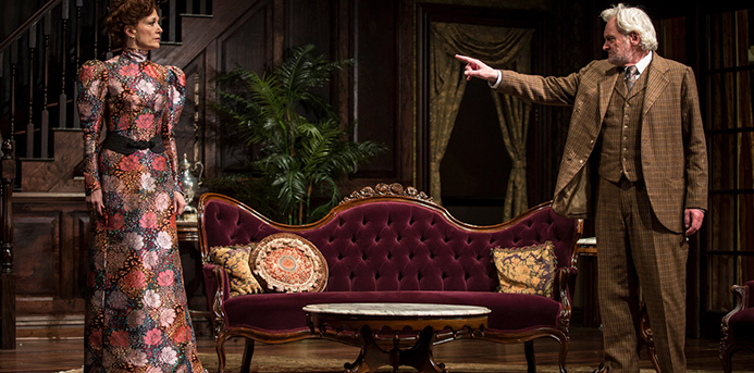 "Shannon Cochran as Regina Giddens and John Judd as Horace Giddens in ""The Little Foxes"" at the Goodman Theatre. Photo by Liz Lauren."