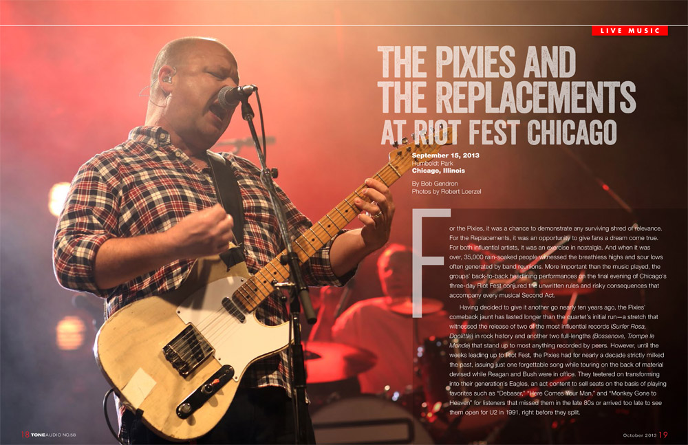 Photo of the Pixies in Tone Audio magazine, October 2013