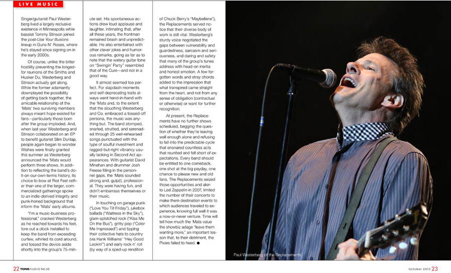 Photo of the Replacements in Tone Audio magazine, October 2013