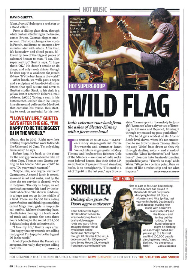 Photo of Wild Flag in Rolling Stone, November 10, 2011.